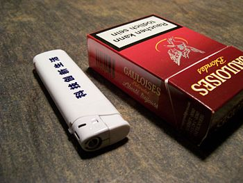 Gauloises red german and asian white lighter.