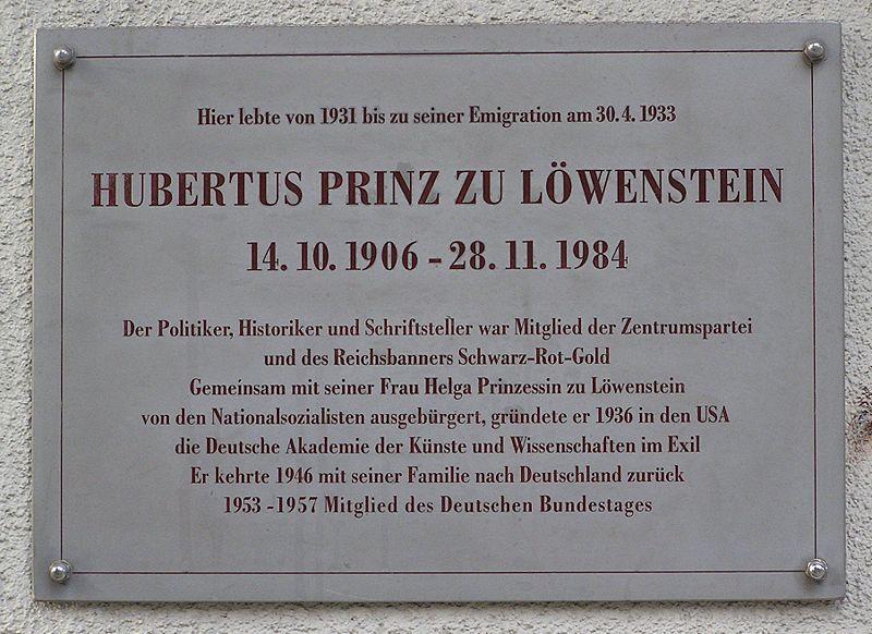 File:Gedenktafel Hubertus Prinz zu Loewenstein.jpg
