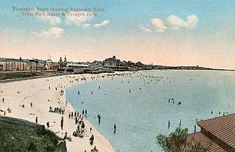Caresse Crosby - Nantasket Beach and the Nantasket Hotel, State Bath House and Paragon Park in the background, circa 1910.