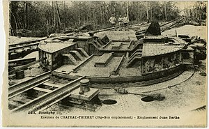 Paris Gun - A Paris gun turntable mounting, as captured by United States forces near Château-Thierry, 1918 postcard