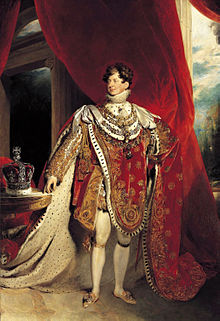 George IV depicted wearing coronation robes and four collars of chivalric orders: the Golden Fleece, Royal Guelphic, Bath and Garter