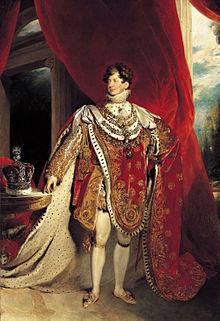 Jorge IV retratado usando túnicas de coroação e quatro colares de ordens cavalheirescas: o Velocino de Ouro, Guelfo Real, Banho e Jarreteira