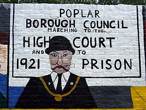 Poplar Rates Rebellion - Image: George Lansbury on Poplar rates rebellion mural geograph.org.uk 866107