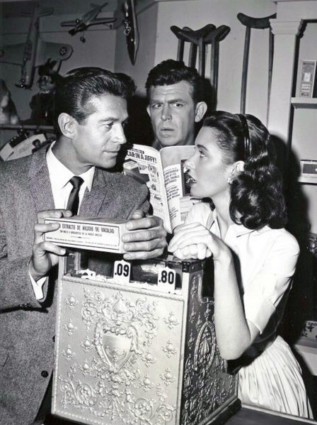 File:George Nader Andy Griffith Elinor Donahue Andy Griffith Show 1961.jpg