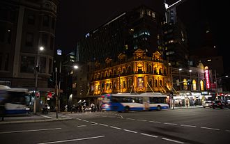 Ultimo, New South Wales - Evening buses running along George Street.