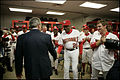 George W. Bush in Washington locker room at Nationals home opener 2005-04-14 2.jpg