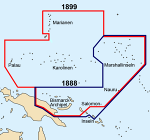 German–Spanish Treaty (1899) - Borders of German New Guinea before (in blue) and after (in red) the 1899 German-Spanish treaty