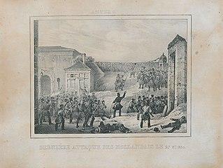 Gevecht met de Nederlandse troepen bij een van de poorten van Antwerpen op 27 oktober 1830