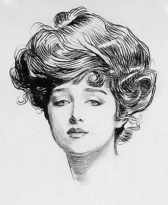 Gibson Girl - An iconic Gibson Girl portrait by her creator, Charles Dana Gibson