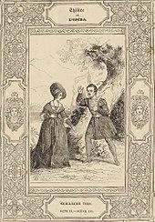 Laure Cinti-Damoreau und Adolphe Nourrit als Mathilde & Arnold in Guillaume Tell. Stich von Cicéri, 1829. (Quelle: Wikimedia)