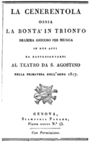 Gioachino Rossini - La Cenerentola - titlepage of the libretto - Genoa 1817.png