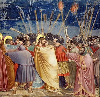 Judas Iscariot - The Kiss of Judas (between 1304 and 1306) by Giotto di Bondone depicts Judas' identifying kiss in the Garden of Gethsemane