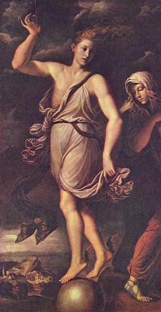 Girolamo da Carpi - Opportunity and Remorse by Girolamo da Carpi (1541), at Gemäldegalerie, Dresden.