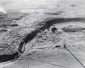 Glen Canyon Dam - Glen Canyon damsite from the air in November 1957, prior to construction of the Glen Canyon Bridge