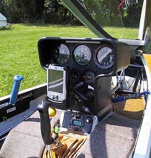 Joystick - Cockpit of a glider with its joystick visible