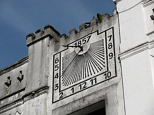 Gnomon - Gnomon situated on the wall of a building facing Tiradentes Square, Curitiba, Brazil