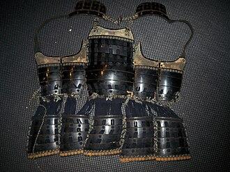Haramaki (armour) - Antique Edo period Japanese (samurai) 4 hinge 5 plate (go-mai) dou or dō that is opens in the back (haramaki).