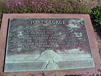Goat Island (Rhode Island) - Fort George plaque on Goat Island