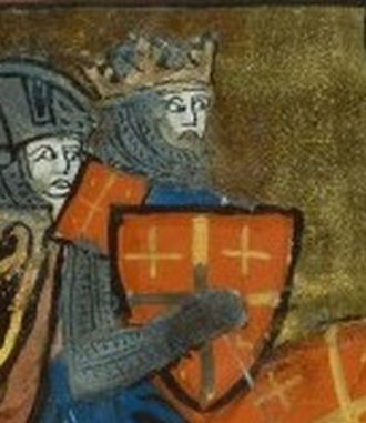 Jerusalem cross - Depiction of the Jerusalem cross on a red (rather than silver) shield as the arms of Godfrey of Bouillon in a 14th-century miniature.