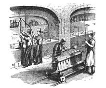 1870 drawing of workers melting gold