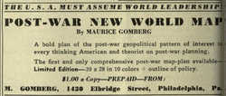 The Map Was Self Published By Gomberg And Offered For Sale For $1 In  Magazines Such As American Teacher In 1942 And Survey Graphic In 1944 (seen  Here).