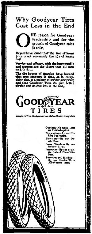 Goodyear Tire and Rubber Company - Goodyear Tires advertisement, Syracuse Post-Standard, February 26, 1916