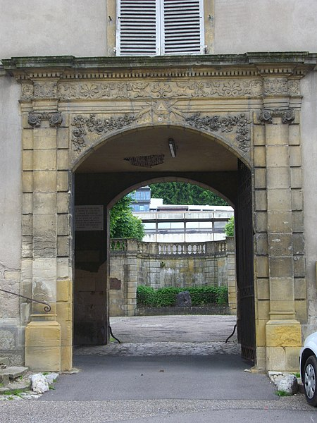 Abbey palace of Gorze (Moselle, France). Portal on Castle square