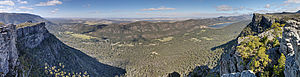 Grampians National Park - A 180° panoramic view looking roughly east from The Pinnacle, providing views of Halls Gap on the left and Lake Bellfield on the right