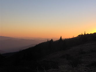 Roan Mountain (Roan Highlands) - Sunset over the Blue Ridge Mountains, looking southwest from Grassy Ridge.