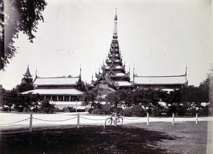 Pyatthat - The Mandalay Palace's Great Audience Hall features a prominent seven-tiered pyatthat.