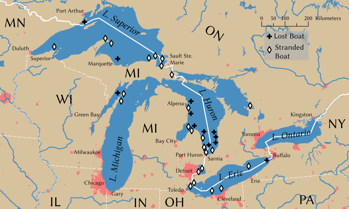 great lakes shipwrecks map List Of Shipwrecks In The Great Lakes Wikipedia great lakes shipwrecks map