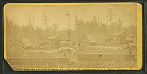 Bellefonte and Snowshoe Railroad - Stereoscopic view of the wreck at Miller's Spring Hollow.