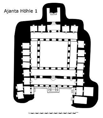 Vihara - Plan of cave 1 at Ajanta, a large vihara hall for prayer and living, 5th century