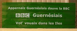 Publicity sticker for Guernésiais language bro...