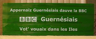 BBC Radio Guernsey - Publicity sticker: Learn Dgèrnésiais with the BBC - Guernsey BBC - Your voice in the Islands