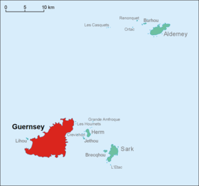 Map of Guernsey within the Bailiwick