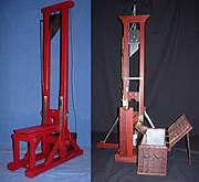 Historic replicas (1:6 scale) of the two main types of French guillotines: Model 1792, left, and Model 1872 (state as of 1907), right
