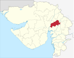 Location of district in Gujarat