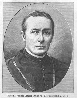 Gustav Adolf, Cardinal Prince of Hohenlohe-Schillingfürst - A portrait of Cardinal Prince Gustav Adolf zu Hohenlohe-Schillingfürst by Adolfo Müller-Ury (1882-1884)