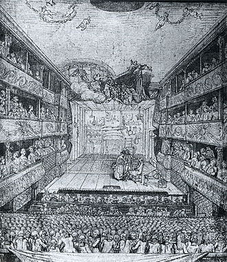 Hôtel de Bourgogne (theatre) - Drawing of the interior of the theatre of the Hôtel de Bourgogne by Pierre A. Wille, the younger (1767).