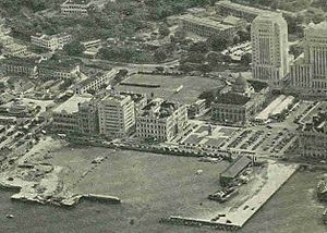 Chater Garden - 1953 photograph of Central, showing the ground of the Hong Kong Cricket Club behind the Old Supreme Court Building.