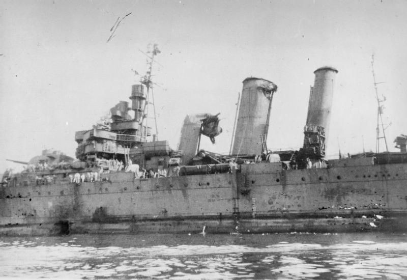 HMAS Australia Kamikaze damage IWM A 29381