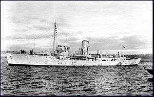 HMCS Windflower during acceptance trials in 1940. Most of the ship's armament has not yet been fitted.