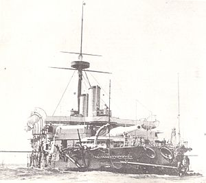 HMS Benbow (1885) starboard bow view.jpg
