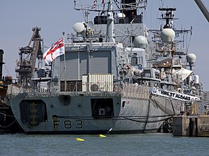 HMS St Albans (F83) - Aft view of St Albans showing the helicopter hangar