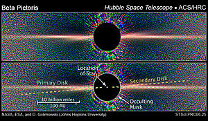 Beta Pictoris - Hubble Space Telescope image of the main and secondary debris disks.