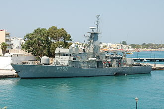 Hellenic Navy - Gunboat HS Aittitos P-268 (Ospray HSY-56A class) at the port of Kos