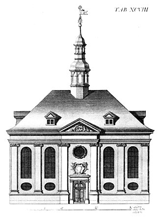 Reformed Church, Copenhagen - Engraving from Lauritz de Thurah's Hafnia Hodierna, 1748