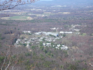 Hampshire College - The Hampshire College campus (right, not center), as viewed from Bare Mountain