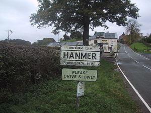 Hanmer, Wales - Image: Hanmer sign